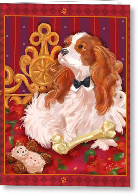 Little Dogs - Cavalier King Charles Spaniel Greeting Card by Shari Warren