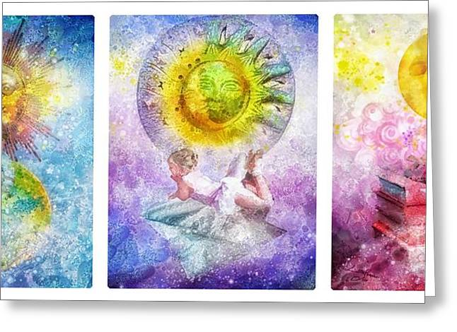 Little Dream Triptic Greeting Card by Mo T