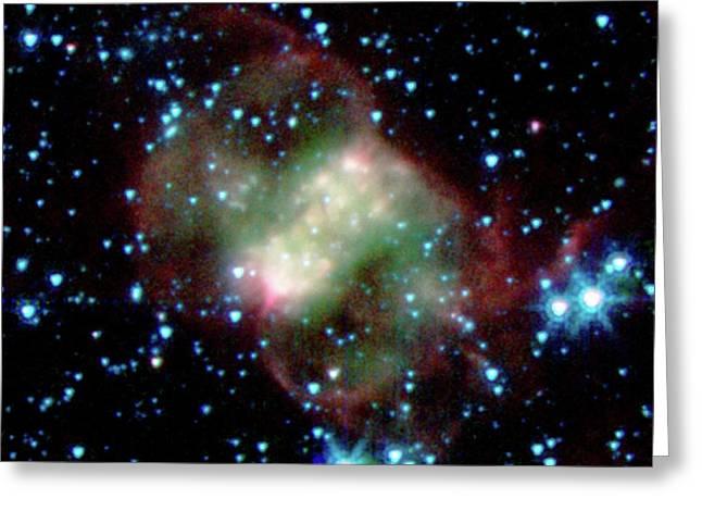 Little Dumbbell Nebula Greeting Card by Nasa/jpl-caltech/j. Hora (harvard-smithsonian Cfa)
