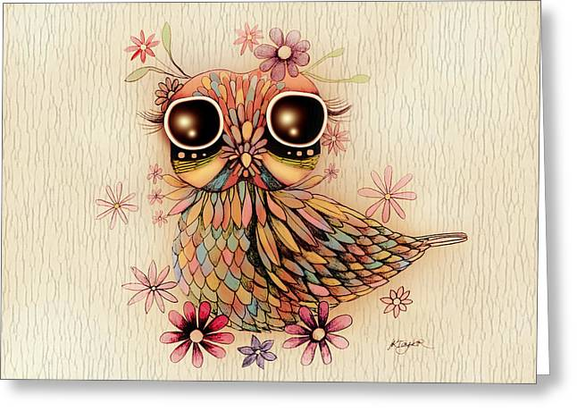 Little Flower Owl Greeting Card by Karin Taylor