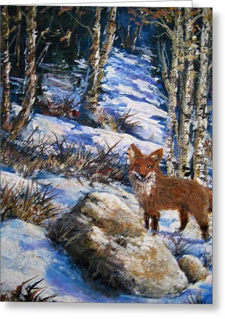 Greeting Card featuring the painting Little Fox by Megan Walsh