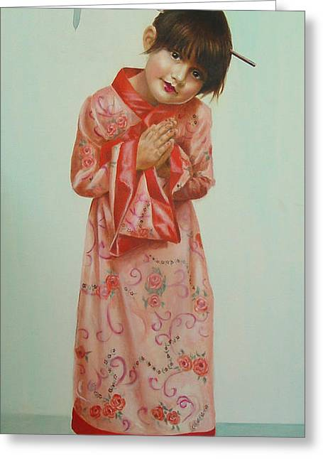 Little Geisha Greeting Card by JoAnne Castelli-Castor