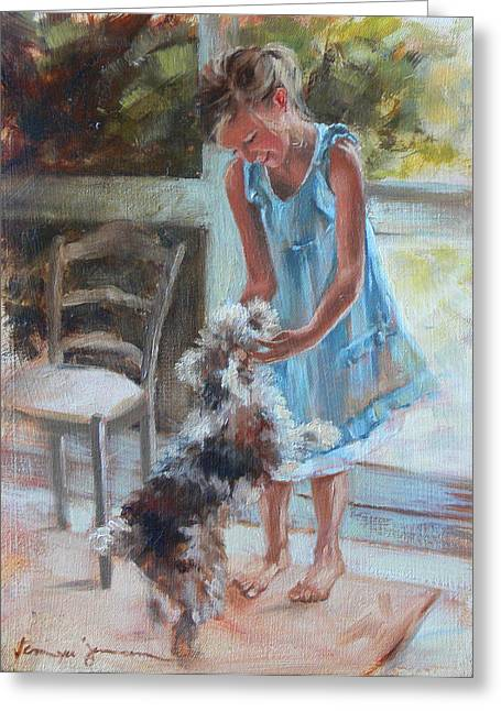 Little Girl And Dog Greeting Card