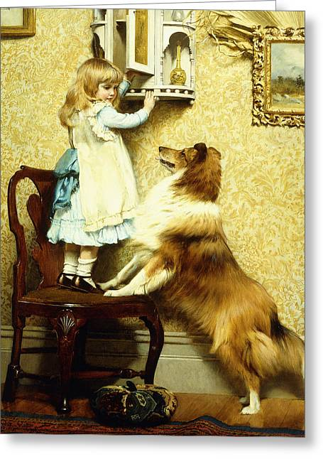 Little Girl And Her Sheltie Greeting Card by Charles Burton Barber