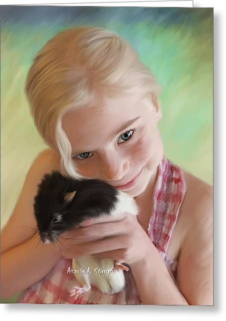 Little Girl And Pet Rat Greeting Card by Angela A Stanton