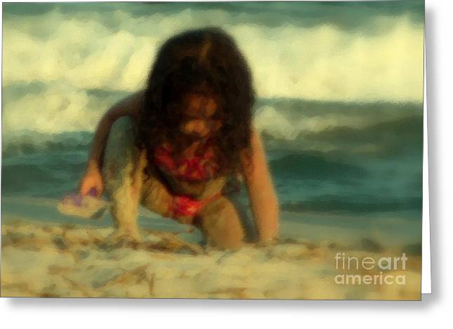 Greeting Card featuring the photograph Little Girl At The Beach by Lydia Holly