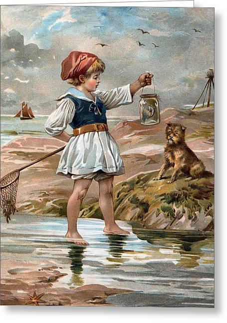 Little Girl At The Beach Greeting Card by Unknown