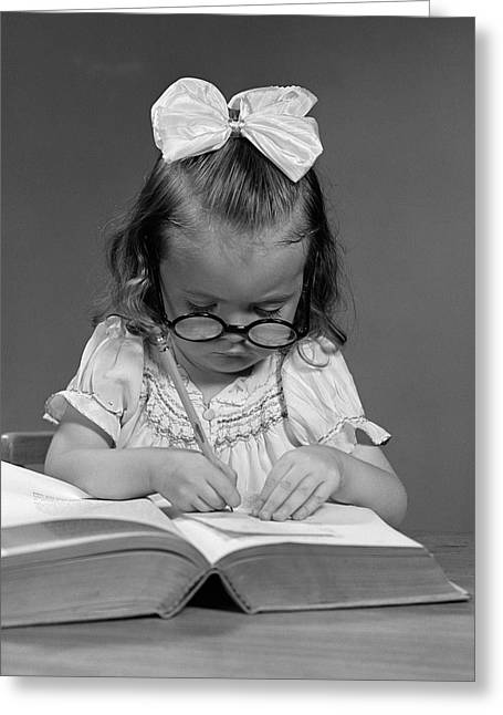 Little Girl, Big Book, C.1940s Greeting Card