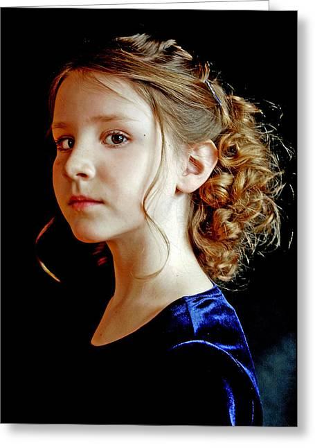 Little Girl Blue Greeting Card by Jon Van Gilder