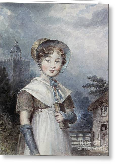 Little Girl In A Quaker Costume Greeting Card by Isaac Pocock