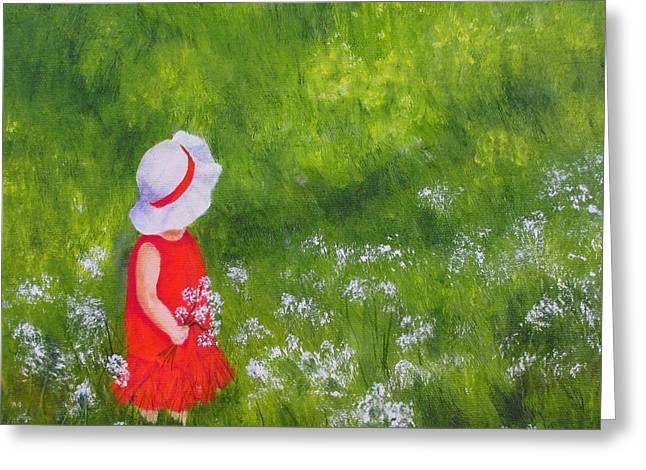 Girl In Meadow Greeting Card