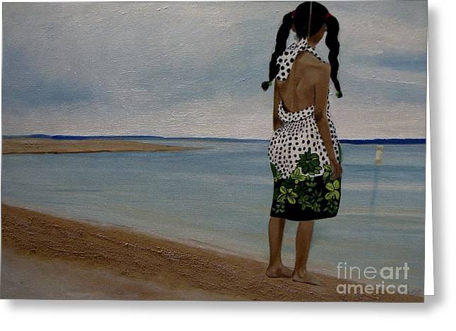 Little Girl On The Beach Greeting Card