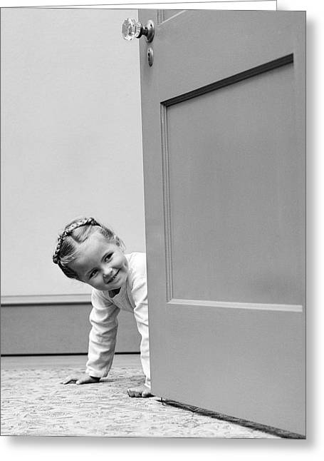 Little Girl Peering Around Door, C.1940s Greeting Card by H. Armstrong Roberts/ClassicStock