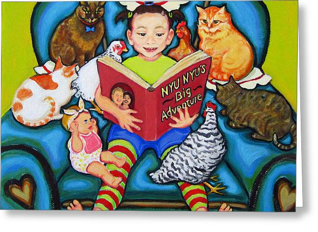 Little Girl Reading To Doll Cats Chickens Greeting Card by Rebecca Korpita