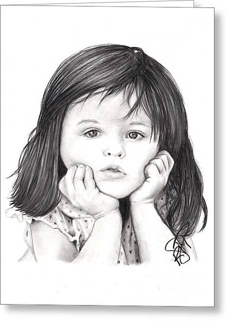 Little Girl Greeting Card by Rosalinda Markle