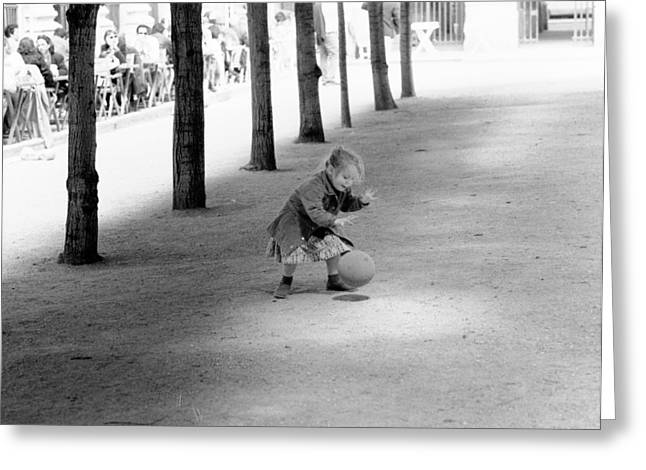 Little Girl With Ball Paris Greeting Card