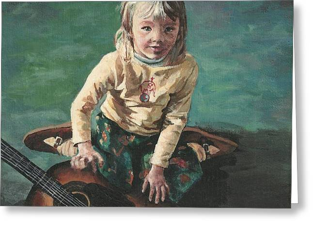 Little Girl With Guitar Greeting Card