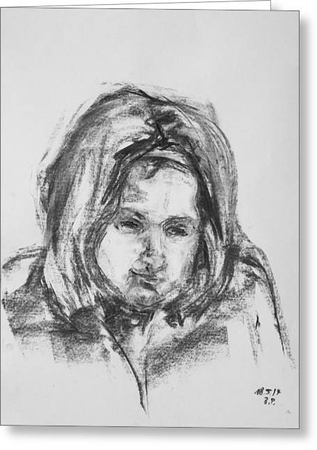 Little Girl With Hairband Greeting Card by Barbara Pommerenke
