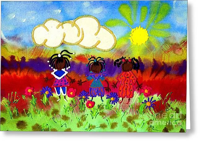Little Girlfriends Greeting Card by Angela L Walker