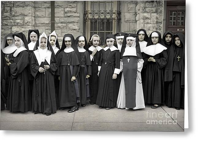 Young Girls Modeling Nun Habits Greeting Card