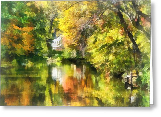 Little House By The Stream In Autumn Greeting Card by Susan Savad