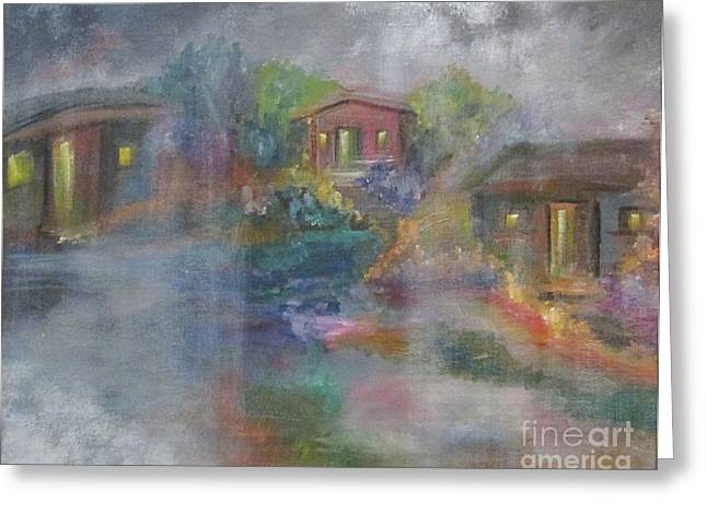 Greeting Card featuring the painting Little Houses On A Rainy Night  by Nereida Rodriguez
