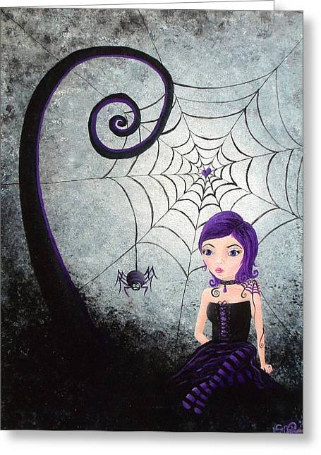 Little Miss Muffet Greeting Card by Oddball Art Co by Lizzy Love