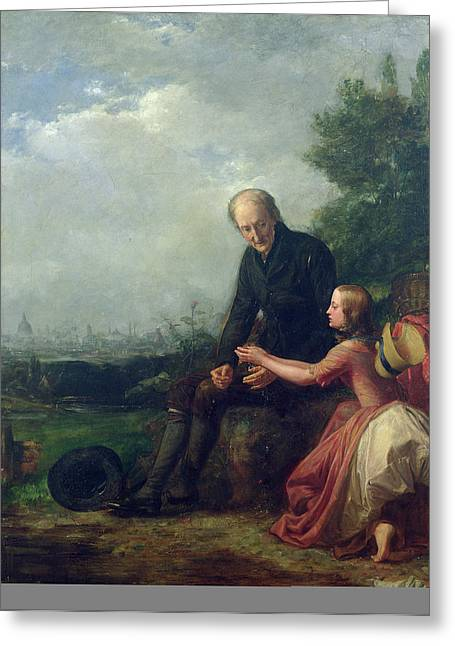 Little Nell And Her Grandfather Greeting Card by William Holman Hunt