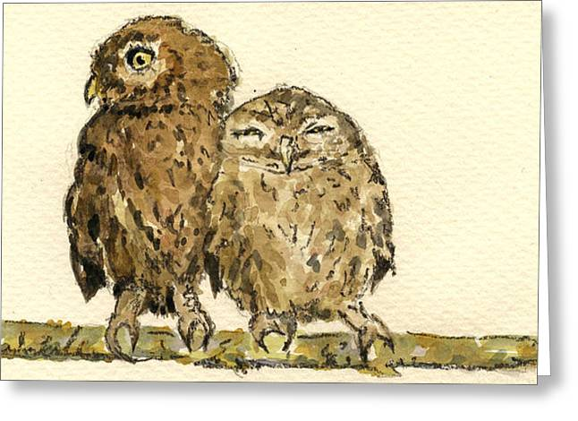 Little Owls Greeting Card by Juan  Bosco