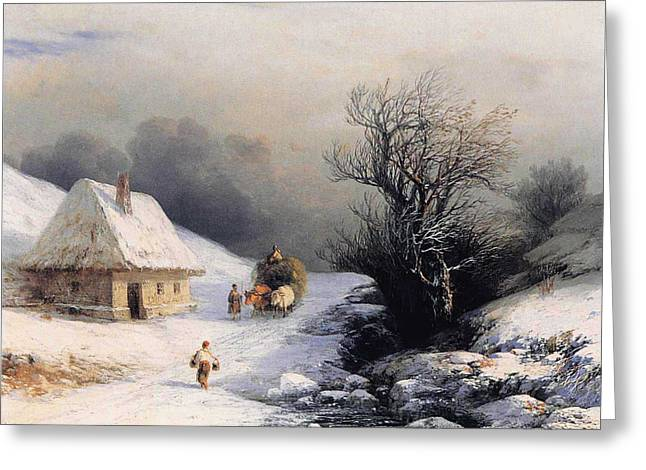 Little Oxcart Greeting Card by Ivan Constantinovich Aivazovsky