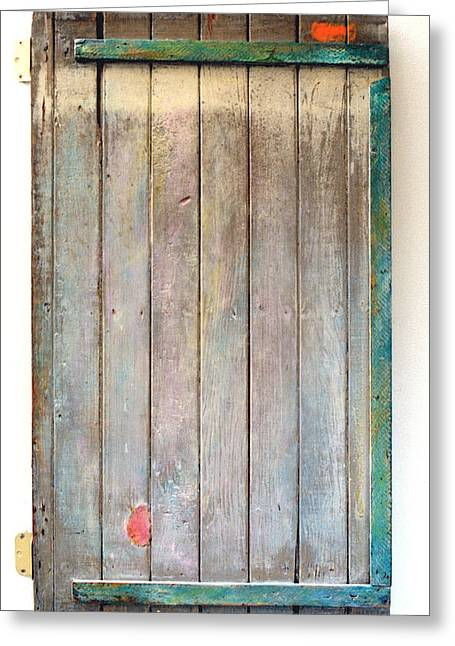 Little Painted Gate In Summer Colors  Greeting Card by Asha Carolyn Young