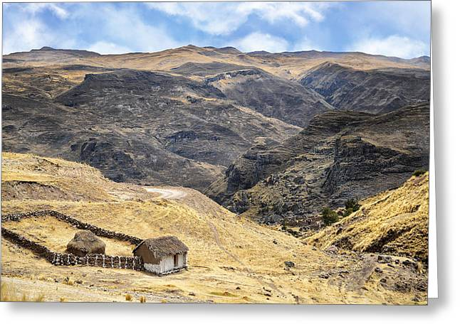 Little Peasant Hut In Mountains Greeting Card