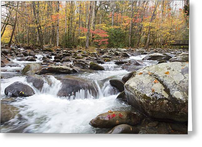 Little Pigeon River Bridge Panorama Greeting Card