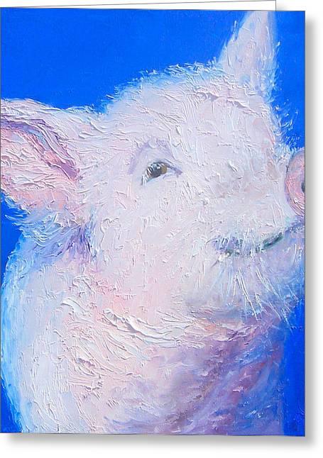 Little Piglet Greeting Card by Jan Matson