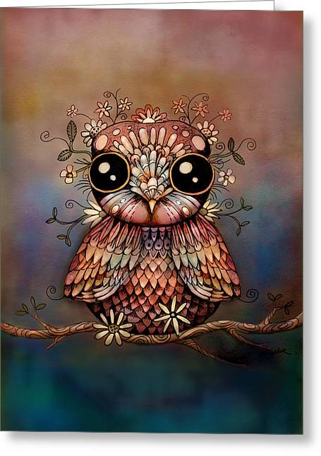 Little Rainbow Flower Owl Greeting Card by Karin Taylor