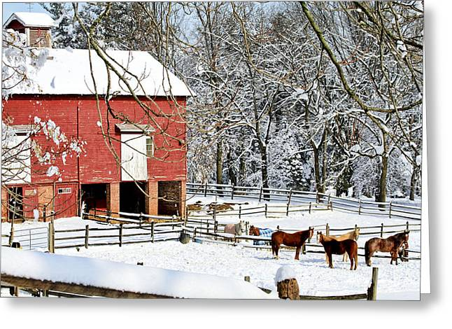 Little Red Farm In Snow Greeting Card
