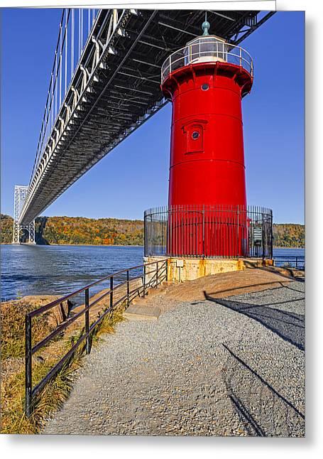 Little Red Lighthouse Under Graat Grey Bridge Greeting Card