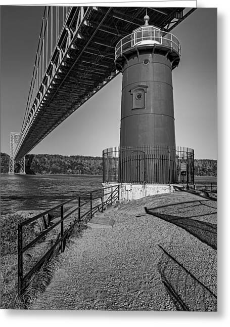 Little Red Ligthouse Under Great Grey Bridge Bw Greeting Card
