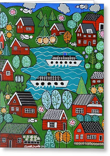 Little Red Norwegian Houses Greeting Card