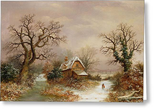 Little Red Riding Hood In The Snow Greeting Card by Charles Leaver