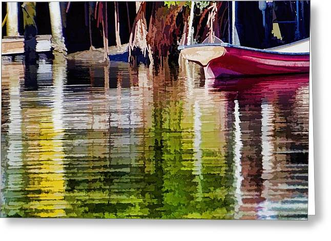 Little Red Row Boat Greeting Card by Pamela Blizzard