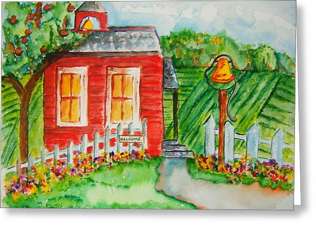 Little Red Schoolhouse Greeting Card by Elaine Duras