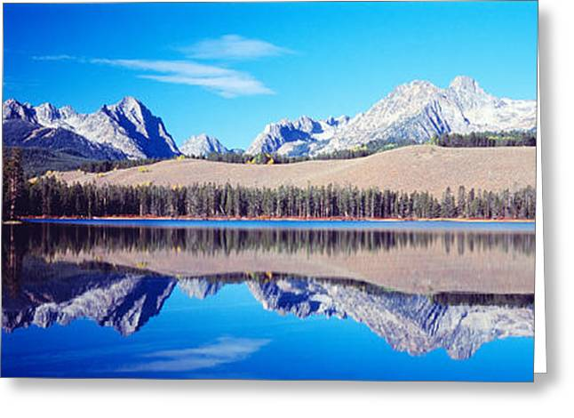 Little Redfish Lake Mountains Id Usa Greeting Card by Panoramic Images