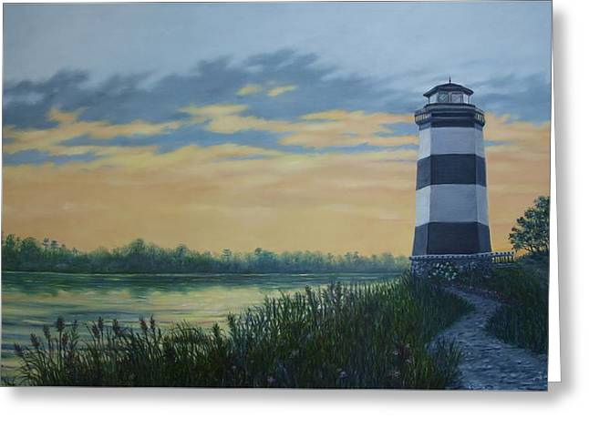 Greeting Card featuring the painting Little River Light One by Kathleen McDermott