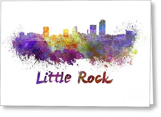 Little Rock Skyline In Watercolor Greeting Card by Pablo Romero