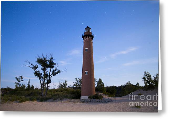 Little Sable Lighthouse By Moonlight Greeting Card