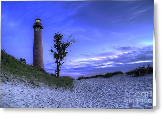 Little Sable Lighthouse In Evening Greeting Card
