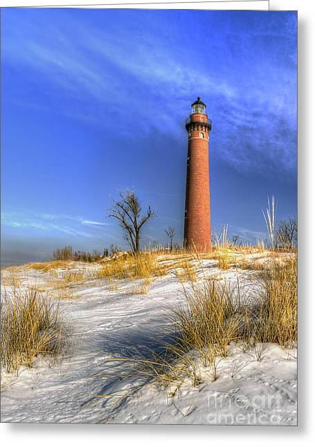 Little Sable Lighthouse Winter Greeting Card by Twenty Two North Photography