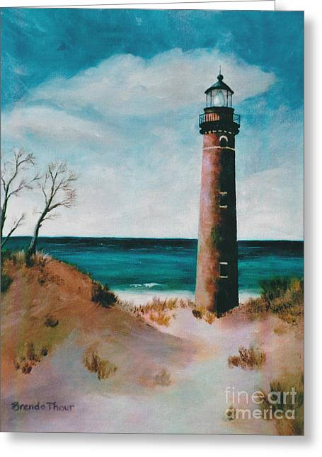 Little Sable Point Light Greeting Card by Brenda Thour