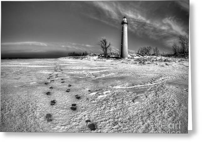 Little Sable Winter In Black And White Greeting Card by Twenty Two North Photography